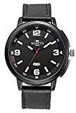 #9: Reloj de hombre MONETTI-FUTURO con correa de cuero negro en un diseño futurista en un regalo!