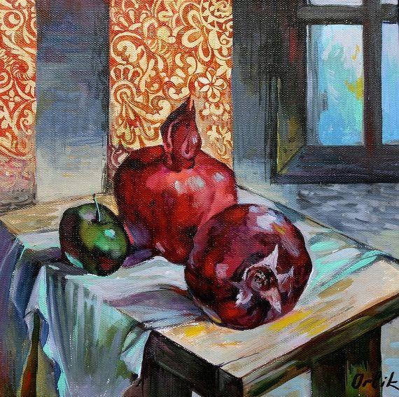 Original Painting Small Acrylic colors 30x30cm Modern Art on canvas Wall Art Home Decor by Inna Orlik