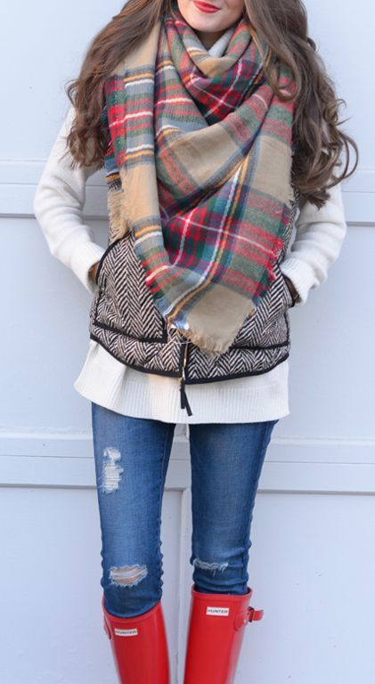 Fall trends | White knit, chevron vest, scarf, jeans, rain boots