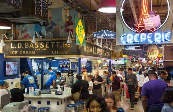 "READING TERMINAL MARKET IN PHILADELPHIA, PA: The only rule at Reading Terminal? ""Don't eat in advance!"" Some of the best food in Philadelphia Is here. One to try is DiNic's for a ""wet"" (extra jus, a.k.a. gravy) roast pork sandwich."