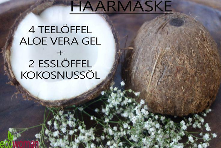Haarmaske selber machen aus Aloe Vera und Kokosnussöl #DIY #Haarmaske #Naturkosmetik