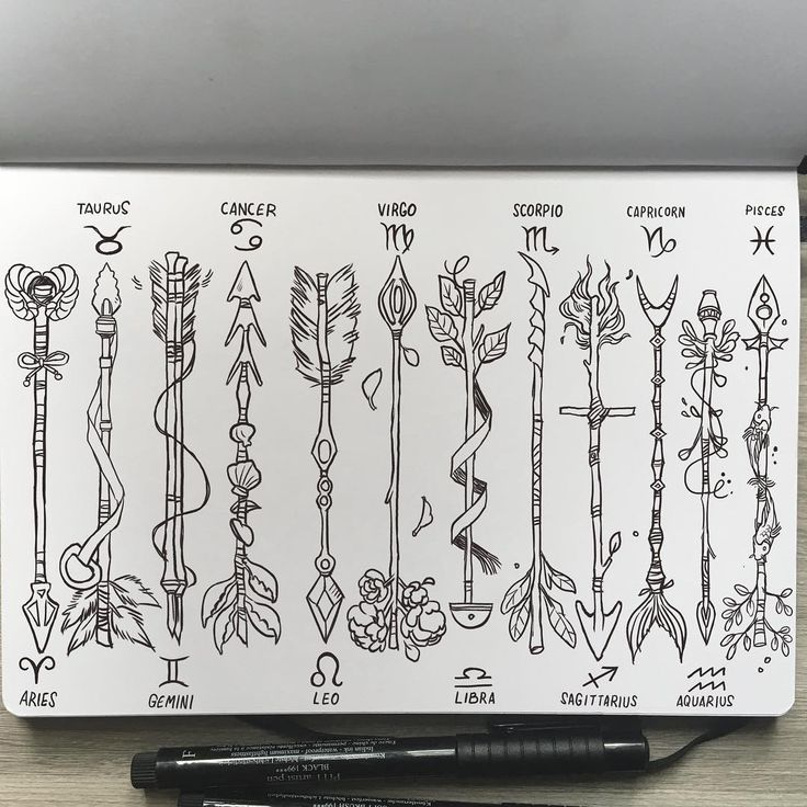 Gabriel Picolo - Zodiac Arrows✨ (complete set) PLEASE READ❗️ If you want to use any of these as a tattoo you have my permission and I would love to see it! Also I'm really out of time rn but I might still color them. :-) #zodiac #arrow #tattoo #tattoodesign #sketchbook #leuchtturm1917 #ink #drawing #illustration #art