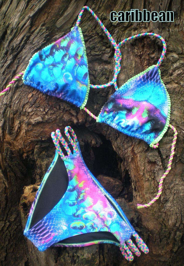 VESTIDO DE BANO CARIBBEAN Bikiny en animal tropical con detalles trenzados