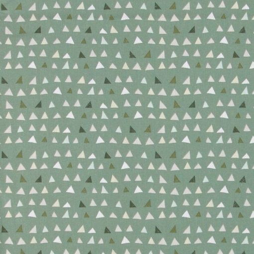 Bomuld lys/mørk grøn abstrakte trekanter - STOFF & STIL