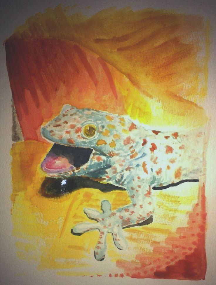 Happy gecko aquarelle
