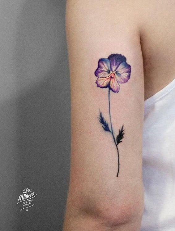 Collection of 25+ Bee On Violet Flower Tattoo Design