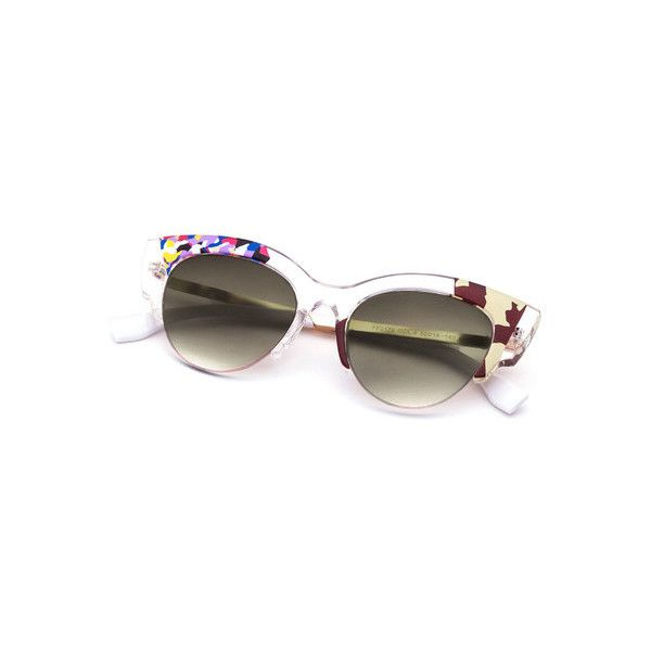 transparent frame detail cat eye sunglasses 2325 huf liked on polyvore featuring accessories