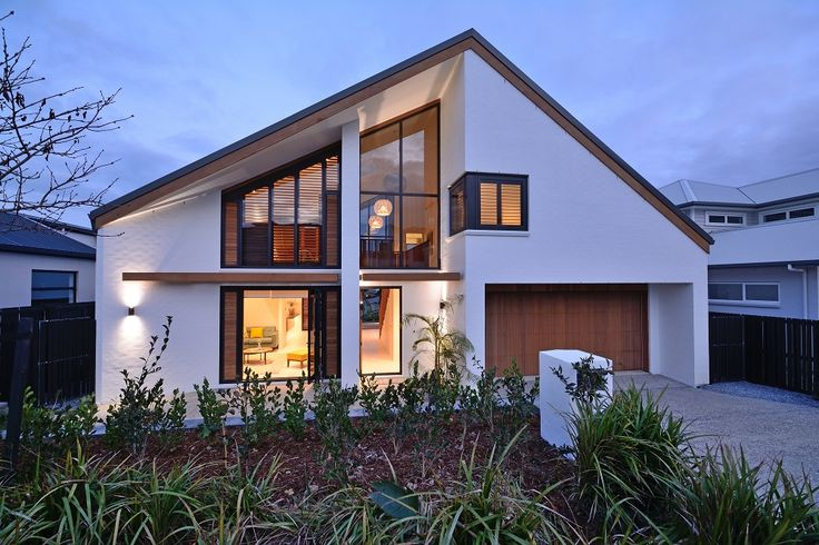 For a slightly different look to the exterior of your house, consider a non-symmetrical roof with feature floor to ceiling angled windows (ID 1176)
