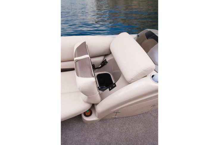 Easy-access trash receptacle in starboard bow lounge http://www.exclusiveautomarine.com/product/party-barge-254-xp3