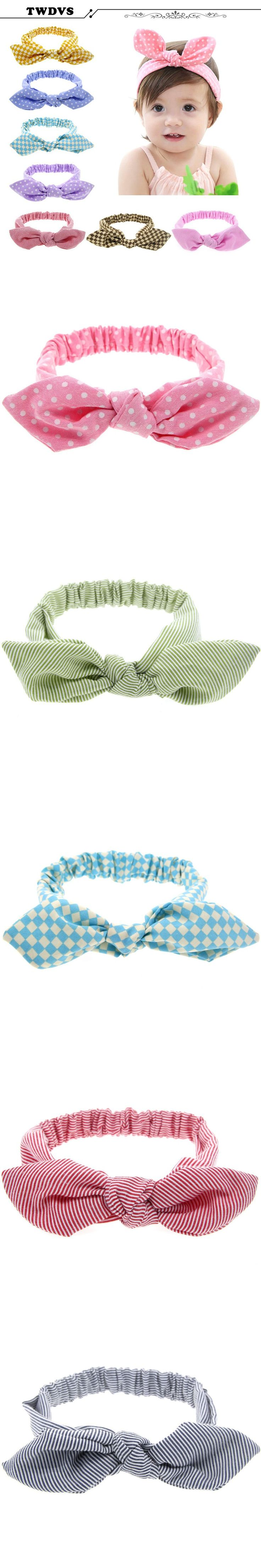 TWDVS Headwear Rabbit Ear Baby Headband Style Hair Bow Elastic Knot Top Hair Bands Hair Bands Hair Accessories KT004 $1.65