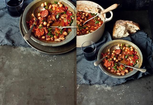 Spicy Chorizo, red capsicum, tomato and mixed bean stew