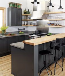reference for kitchen island, low counter for chairs, high counter for prep
