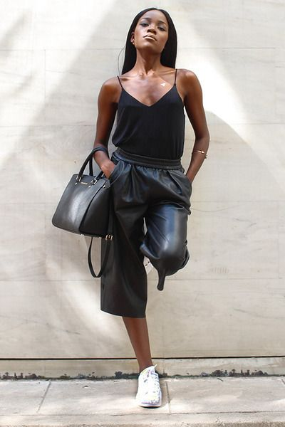 Current Obsessions: Faux leather culottes and Adidas Supershell Sneakers