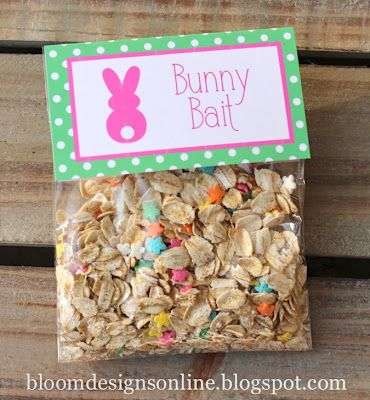 Bunny Bait made with oatmeal, flower sprinkles and glitter.  Sprinkle on the grass the night before Easter.