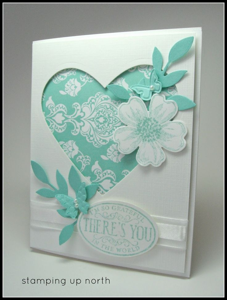 Stampin Up Heart Framelit, Flower shop bundle, bird builder punch for the leaves, Love the aqua with the white