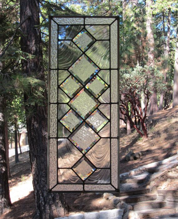 Beveled Diamonds Stained Glass Window by DebsGlassArt on Etsy