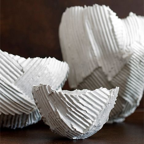 paola paronetto - eramic objects with a corrugated paper-like surface  http://www.paolaparonetto.com/