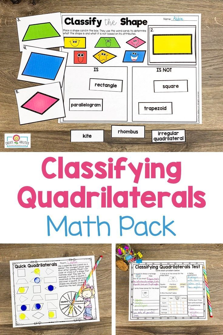 Classifying Quadrilaterals Printables And Games Distance Learning Math Graphic Organizers Shapes Lessons