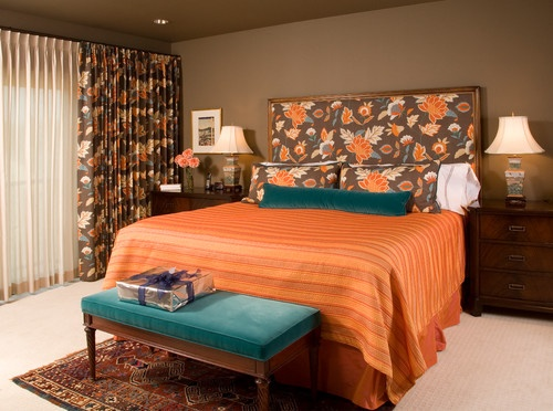 85 best images about bedrooms on pinterest for Brown and orange bedroom ideas