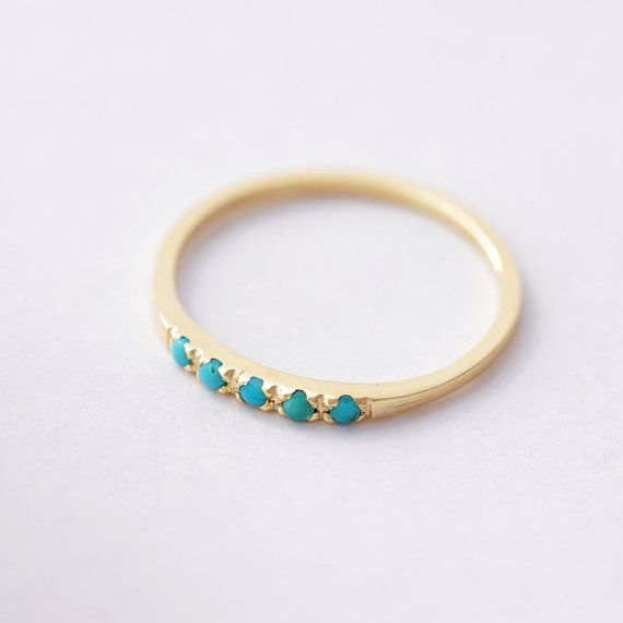 Pave Turquoise Ring Thin Turquoise Ring 14K Solid by artemer, $320.00