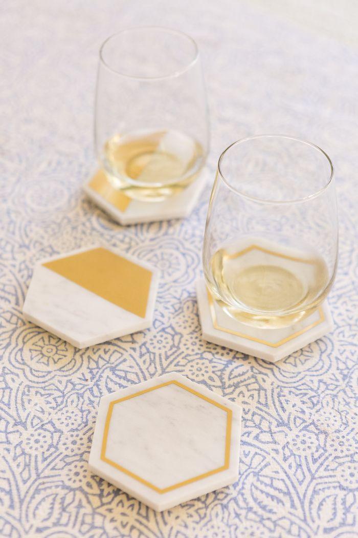 DIY Marble Hexagon Coasters