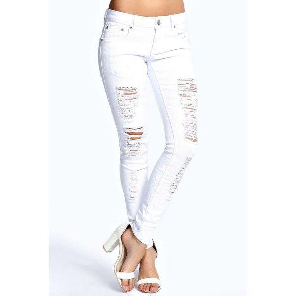 1000  ideas about White Ripped Skinny Jeans på Pinterest | Hvide