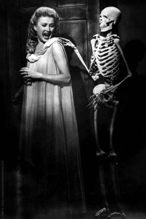 """Come with me Murderess."" - The marvelous Carol Omart and Skeleton in ""House on Haunted Hill""."
