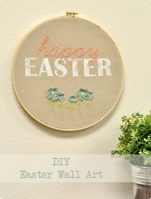 DIY embroidery hoop decor --i like the idea of stitching with printing...new