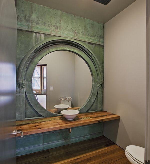 bad-ideen design ovaler spiegel wandfarben waschbecken freistehend trendig fliesen holz optik
