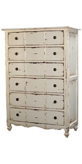 From Bramble Co -- Provence six drawer tallboy -- white heavy distressed finish.