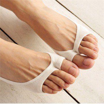 Verano puro del dedo del pie del pío de algodón escotado invisible antideslizante tobillo Liner Calcetines online - NewChic