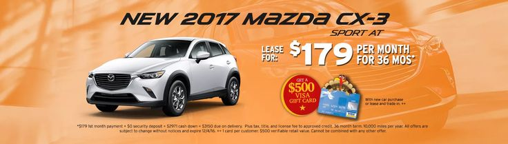 For a limited time at Russ Darrow Mazda you can lease a 2017 Mazda CX-3 for $179 a month!