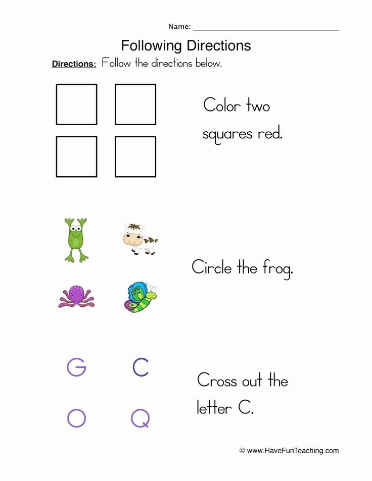 Printable Following Directions Worksheet Following ...