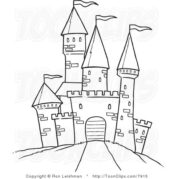 draw castle white line drawing of a path leading to a castle - Drawing And Colouring For Kids