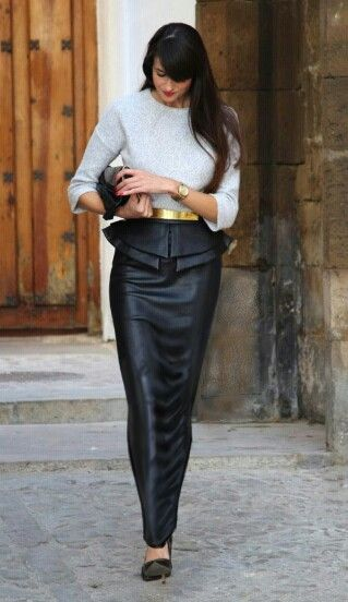 Long leather pencil skirt with plenum | Things to Wear | Pinterest ...