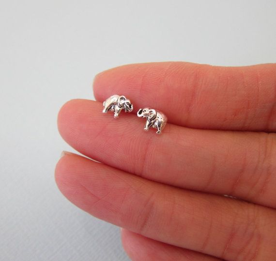 Tiny Sterling Silve Baby elephant Stud by GreatJewelry4All on Etsy