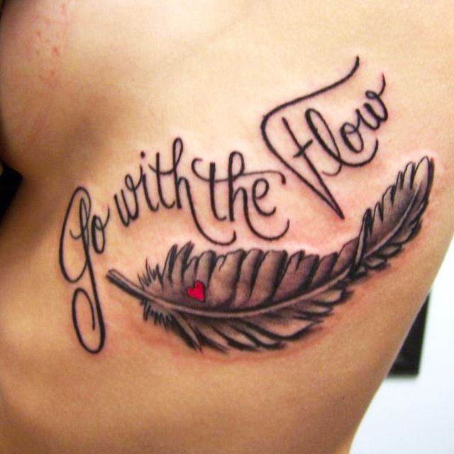 http://tattoonewmexico.org - Black and grey feather tattoo with script by Amanda Kimmons at Skin Deep Tattoos in Artesia, New Mexico #gowiththeflow #heart #script #ink