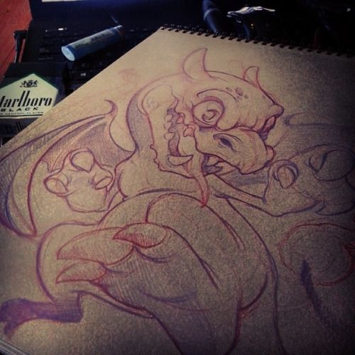 Just a lil #charizard for an upcoming #pokemon tattoo. #newschool #sketching #showmeyourpokeymans