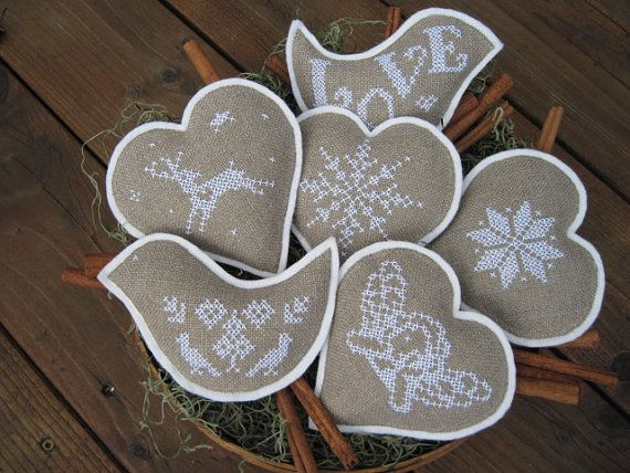 Nordic Christmas Cross Stitch Bowl Fillers/ Ornaments