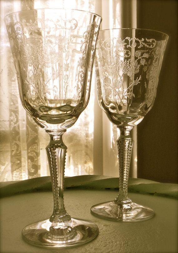 Vintage Fostoria Etched Glass Stemware In Midnight Rose