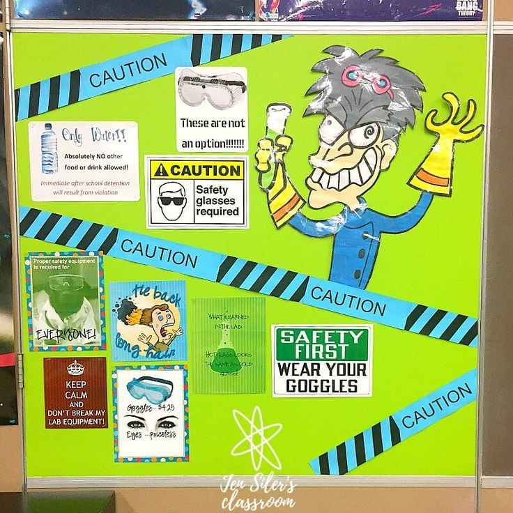 lab safety bulletin board High school science classroom