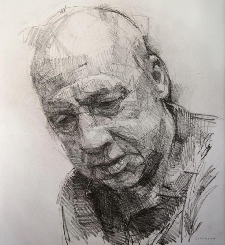 Colin Davidson - Study of Mark Knopfler 3 2012 crayon on paper