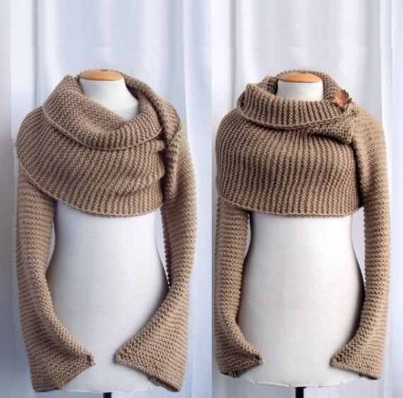 Knitting Pattern Scarf With Sleeves : Sweater scarf / shawl with sleeves at both ends. FREE WORLDWIDE SHIPPING Sl...