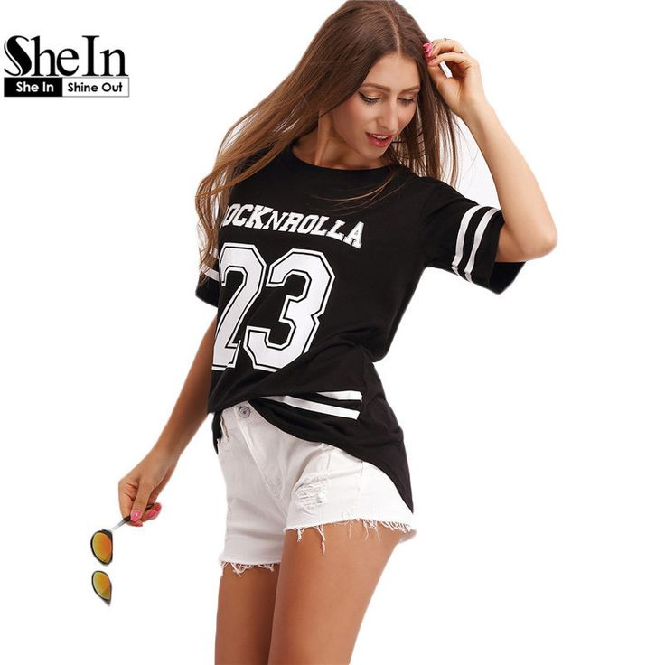 SheIn Tops For Women Tee Shirts Black Short Sleeve Crew Neck 23 Letters Printed Striped Loose Basic T-Shirt