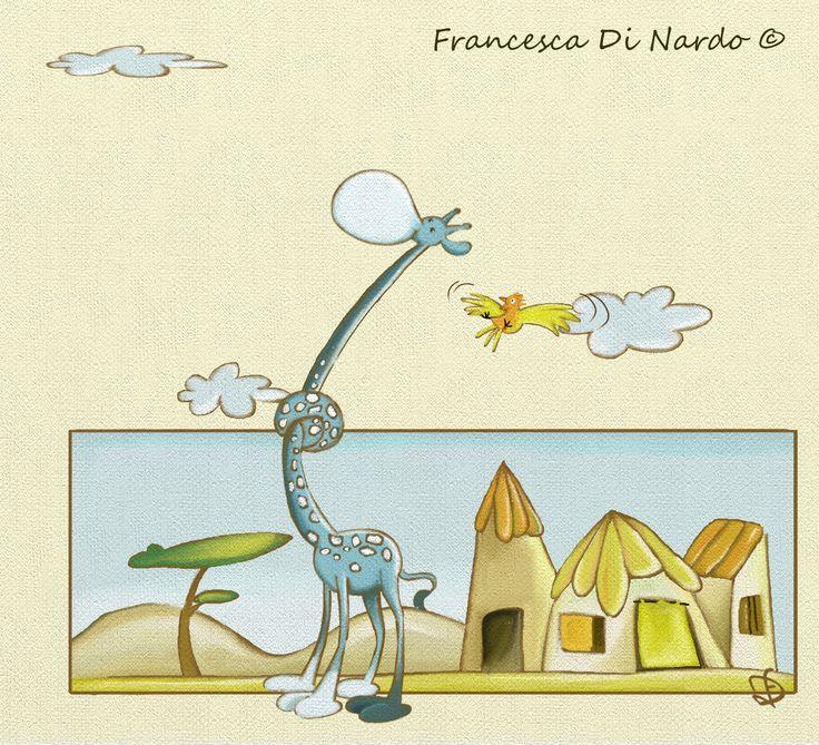Illustrazione per l'albo illustrato Marta la giraffa. Tecnica digitale con programma Art Rage StudioPro