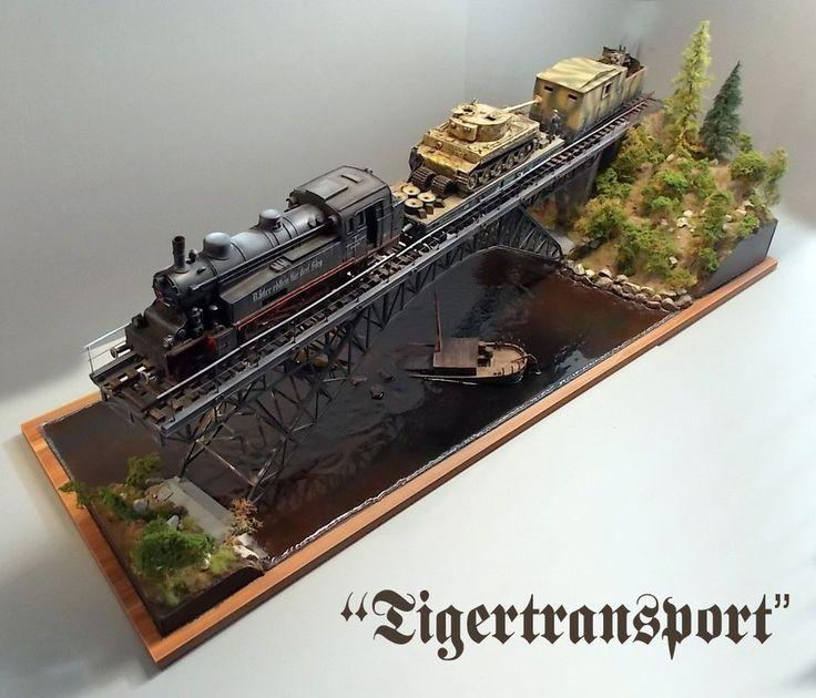"""Das finale Diorama """"Tigertransport"""" wird nun mit komplettem Schienenmaterial mit stimmungsvollem Hintergrund fotografiert. (Baubericht hier)"""