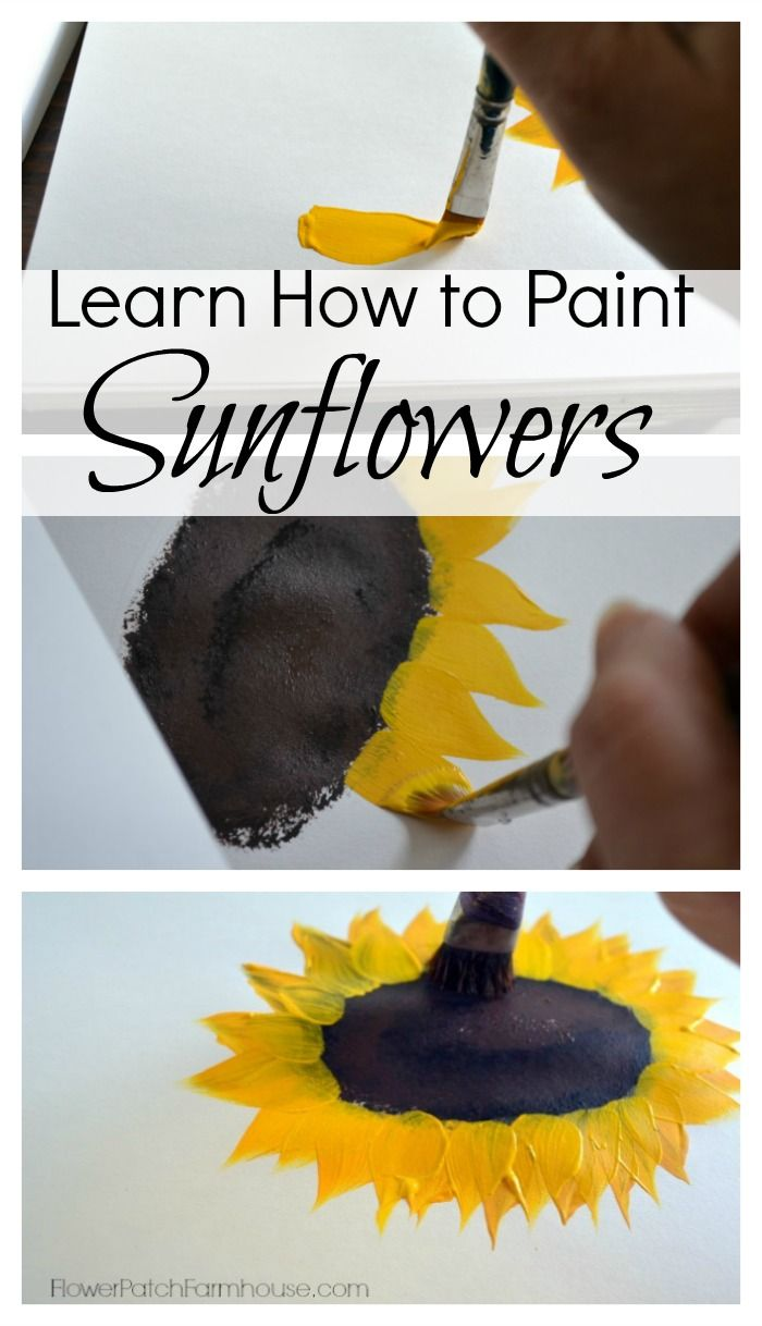 Learn How to Paint Sunflowers, a fast and easy flower to paint that brings sunshine into your world, FlowerPatchFarmhouse.com