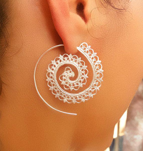 Bala argent boucles d'oreilles argent spirale boucles par RONIBIZA