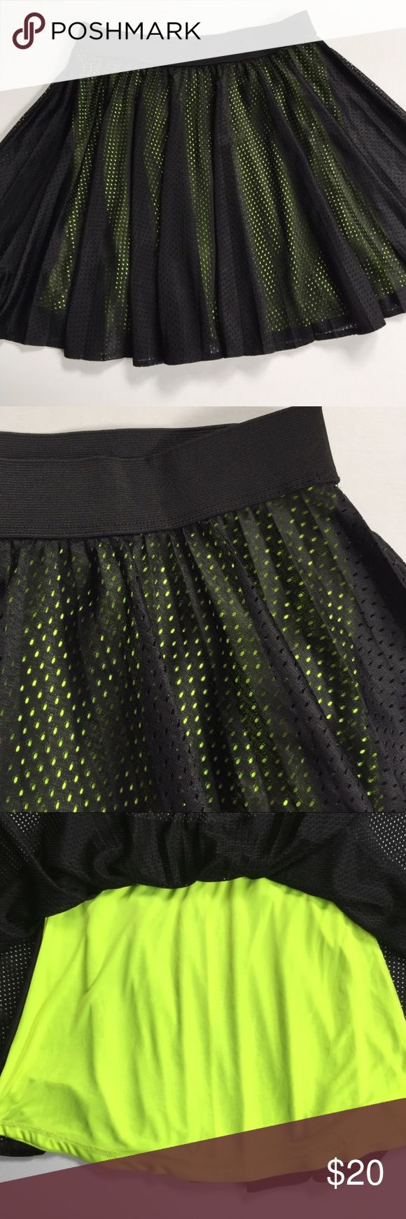 "EUC Nanette Lepore skirt Excellent condition; Adorable and fun! Black mesh skater skirt with neon yellow underneath; elastic waist; polyester, super comfy and lightweight; approx. 17"" long; L'Amour by Nanette Lepore; smoke-free/pet-free home. Nanette Lepore Skirts"