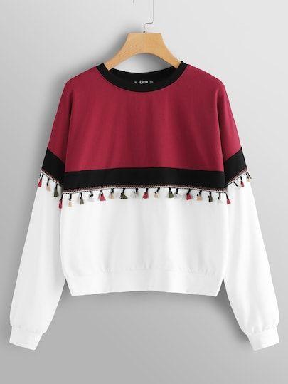 Plus Tassel Detail Color Block Pullover
